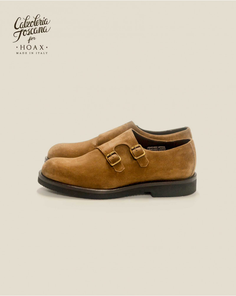 Calzoleria Toscana|Q757 Double Monk Straps Wedge・Taupe Suede