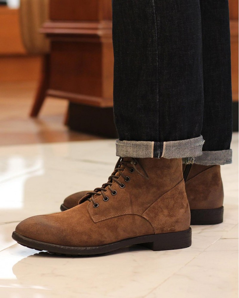BOEMOS 4664 Lace-Up Boots・Sand Suede