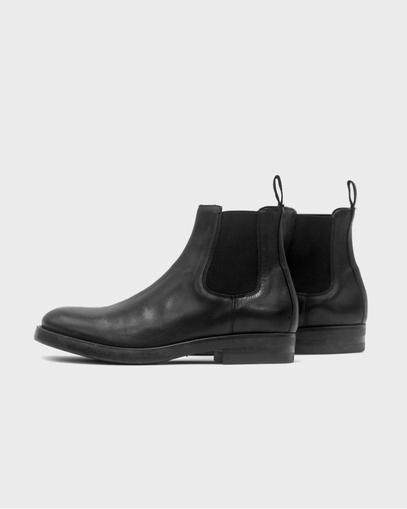 Boemos Washed Leather Chelsea Boots・Black