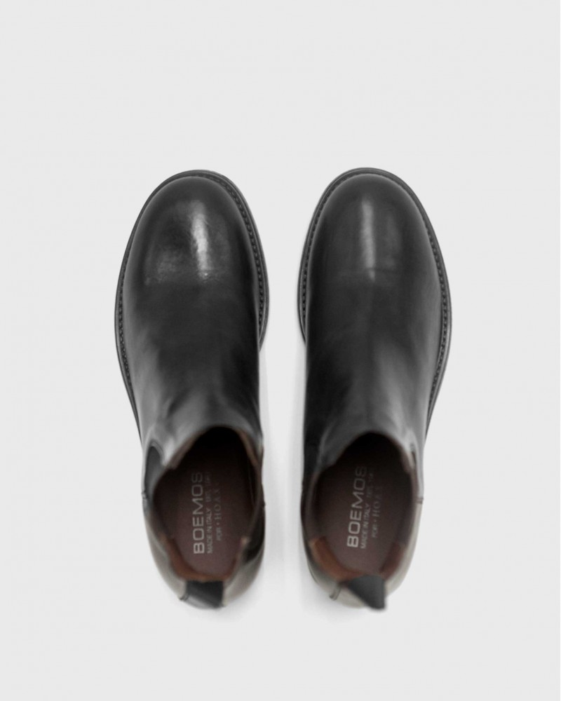 BOEMOS|Washed Leather Chelsea Boots・Black