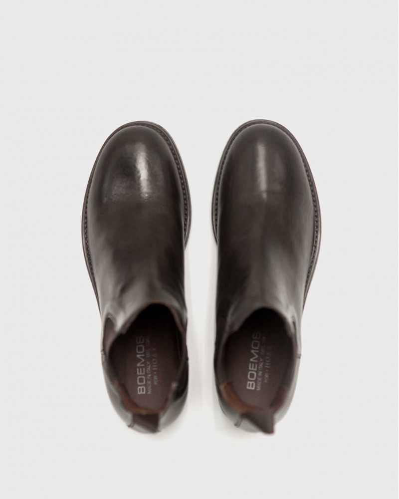 Boemos Washed Leather Chelsea Boots・Dark Brown
