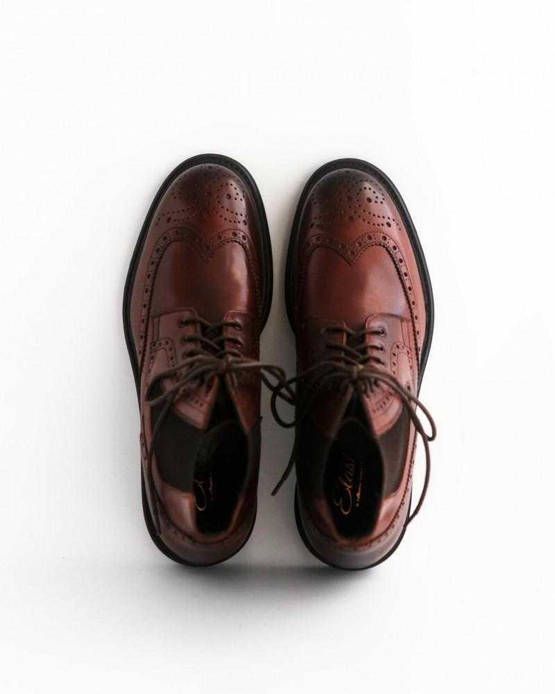HOAX Made in Italy|Sidegore Wingtips Boots・Cognac