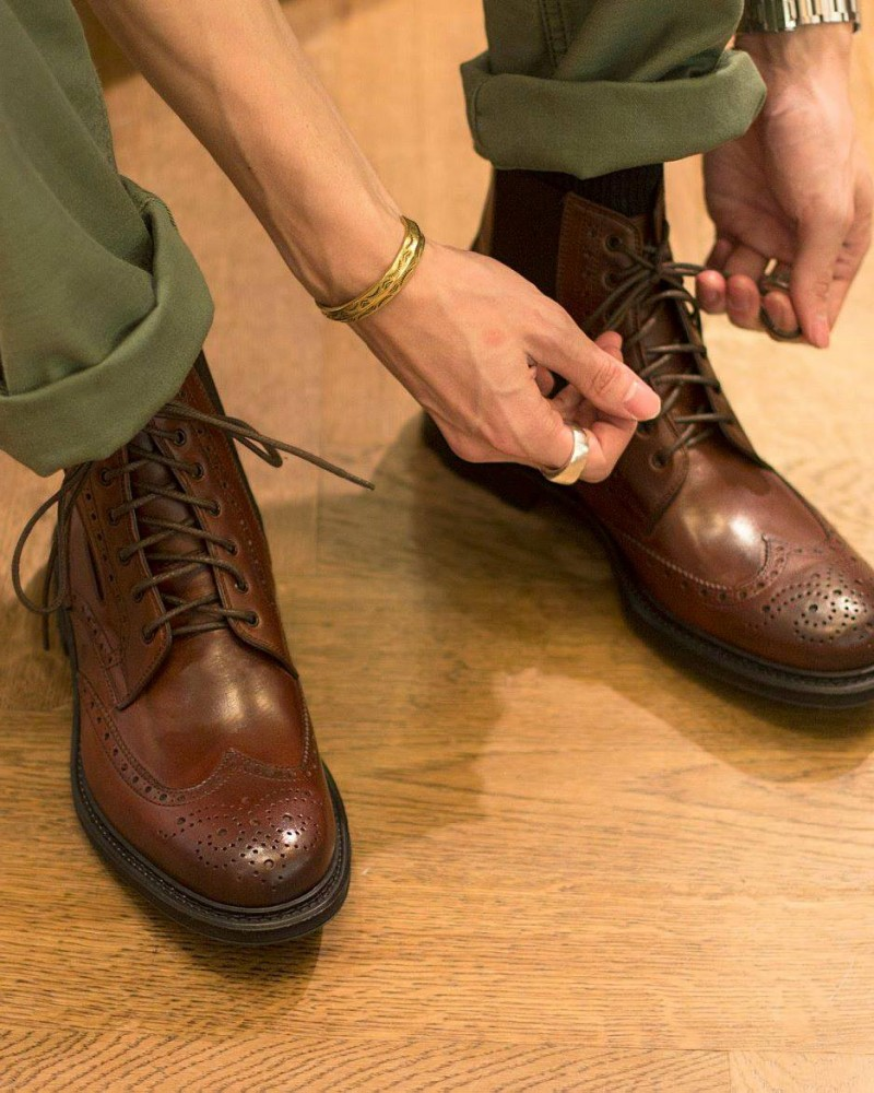 HOAX Made in Italy|Wingtips Chelsea Boots・Cognac