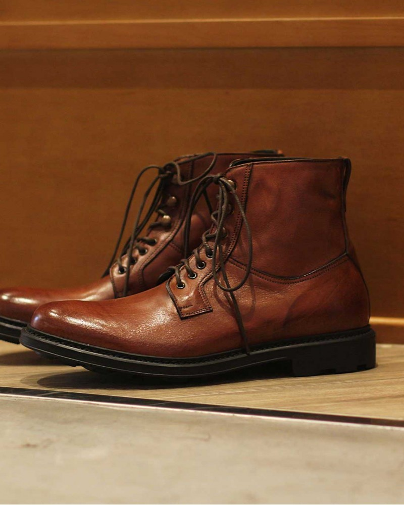 HOAX Made in Italy|Lace Up Combat Boots・Cognac