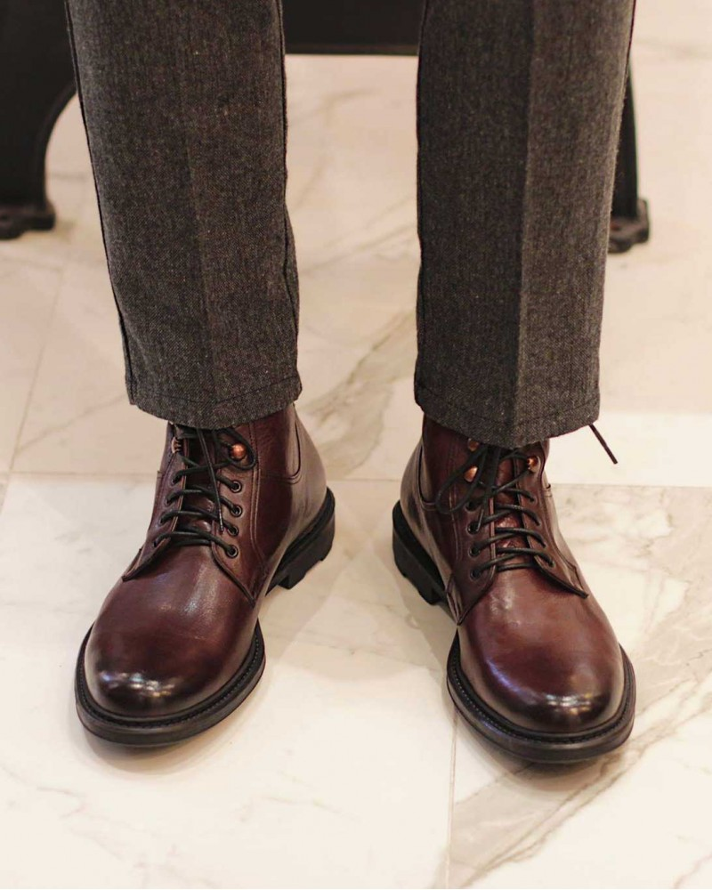 HOAX Made in Italy|Buffalo Combat Boots・Bordo