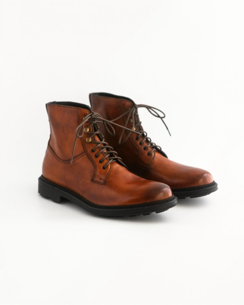 HOAX Made in Italy|Lace Up Combat Boots・Cuoio