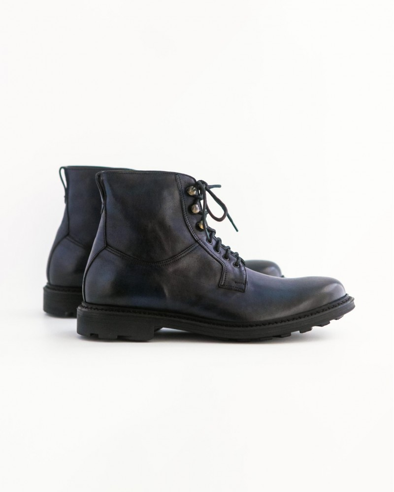 HOAX Made in Italy Lace Up Combat Boots・Navy