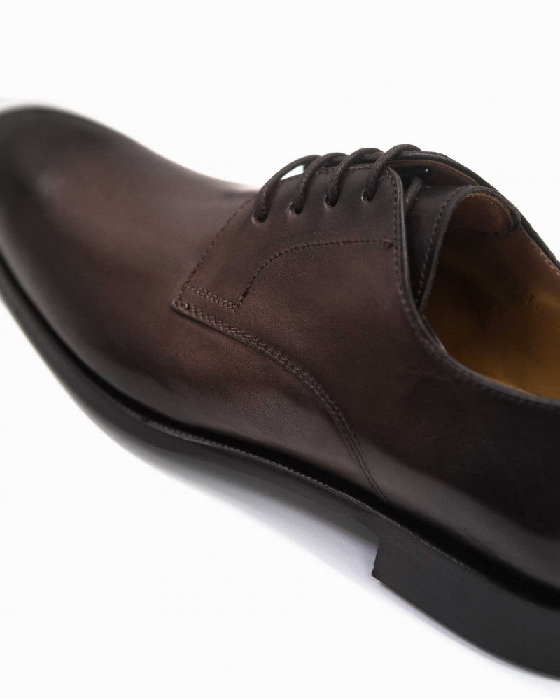 HOAX Made in Italy Plain Toe Derby・Dark Brown