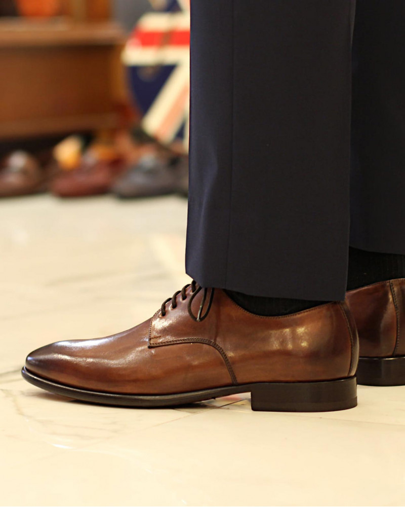HOAX Made in Italy|8605 Plain Toe Derby・Brandy