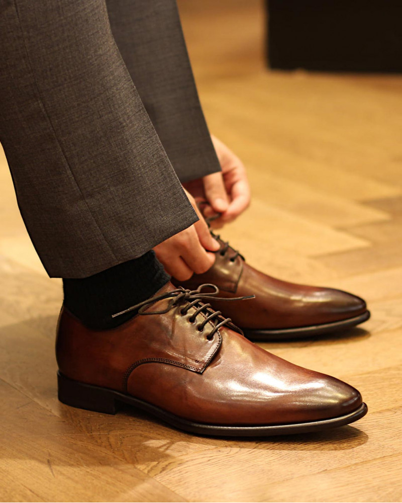 HOAX Made in Italy 8605 Plain Toe Derby・Brandy