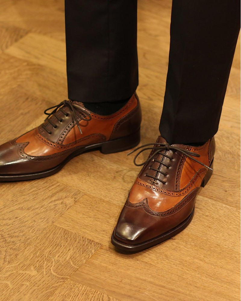 HOAX Made in Italy | 8736 2-Tone Brogues・Brandy/ Dark Brown