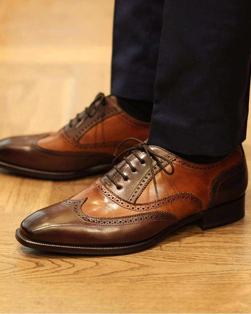 HOAX Made in Italy | 8736 3-Tone Brogues・Brown/ Dark Brown