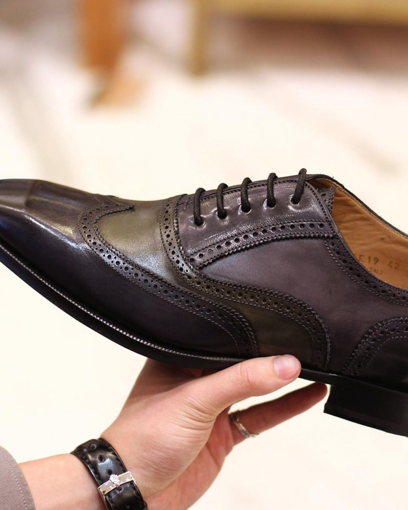 HOAX Made in Italy | 8736 3-Tone Brogues・Navy/ Grey/ Green