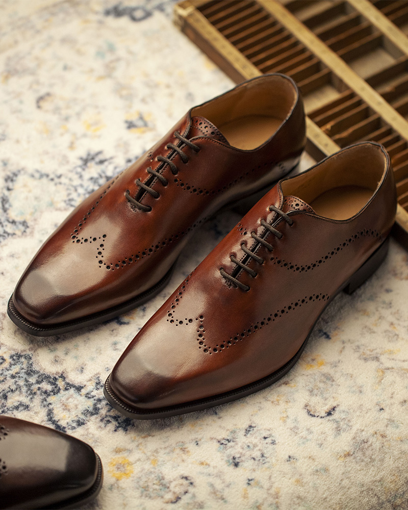 HOAX Made In Italy 9045 Whole Cut Wingtip Oxford・Brandy