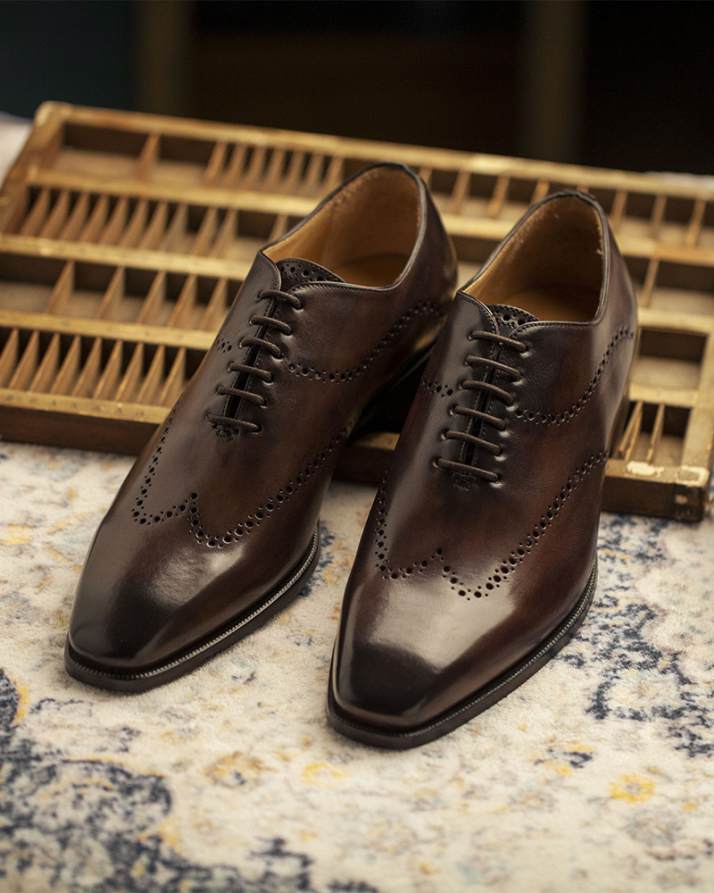 HOAX Made In Italy|9045 Whole Cut Wingtip Oxford・Dark Brown