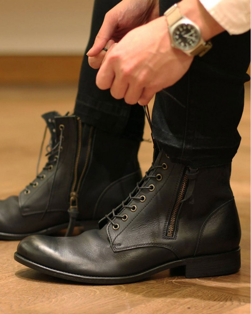 ARGIS|22240 Double Zip Boots・Black