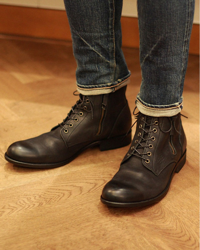 ARGIS|22240 Washed Leather Double Zip Boots・Black
