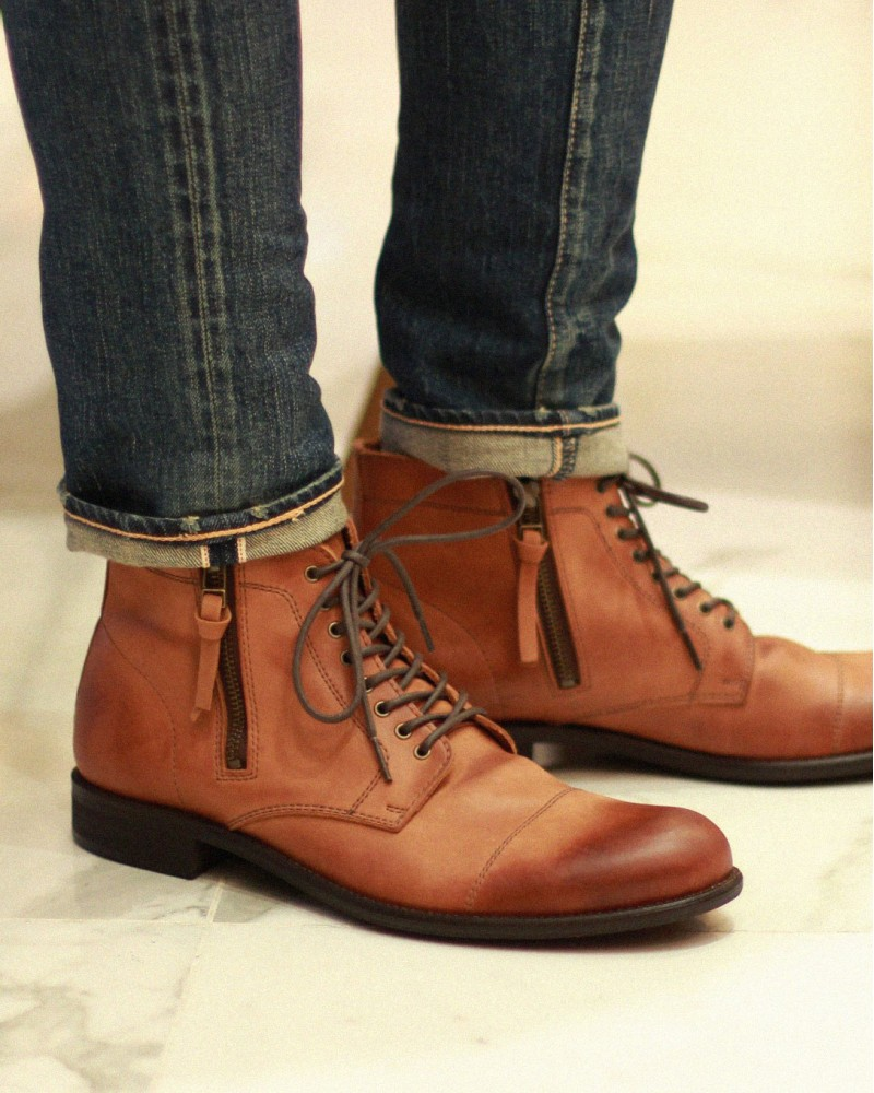 ARGIS|42211 Washed Leather Double Zip Captoe Boots・Brown