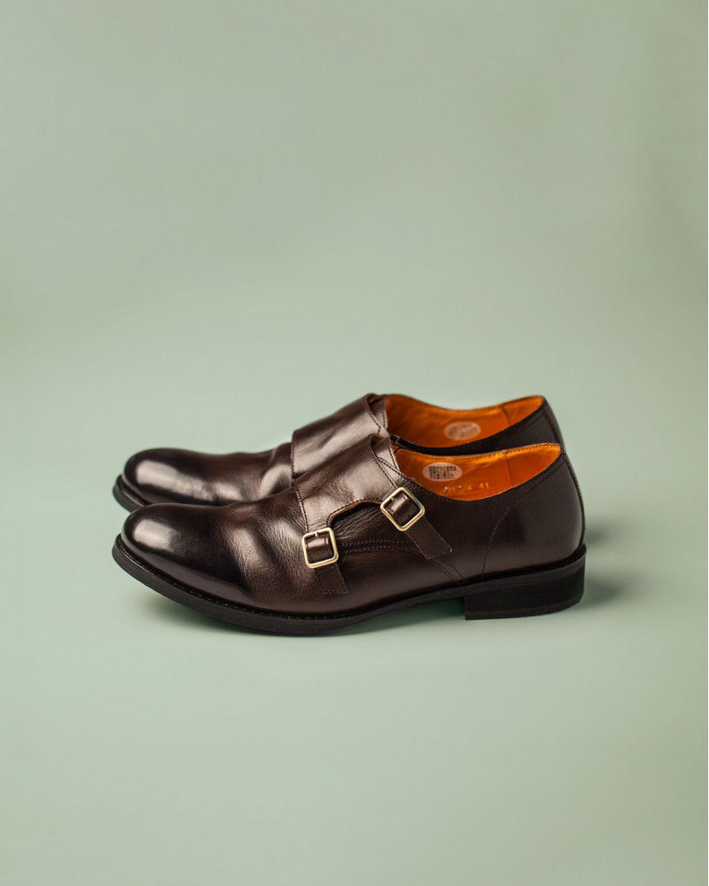 RAD by RAUDi|R12110 Washed Double Monk Strap.Dark Brown
