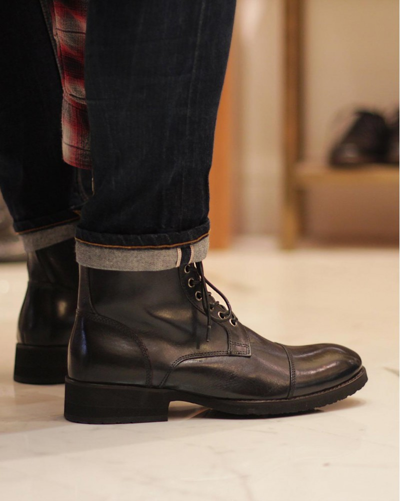 RAD by RAUDi|61501 Side Zip Captoe Boots.Navy