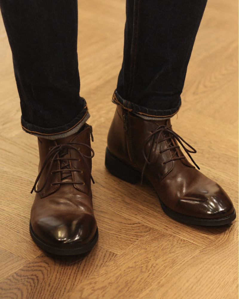 RAD by RAUDi|81207 Washed Ankle Boots.Dark Brown