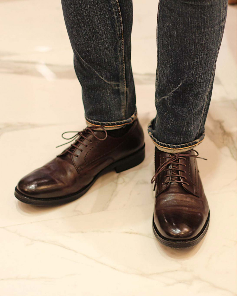 RAD by RAUDi|82105 Washed Derby Shoes・Dark Brown