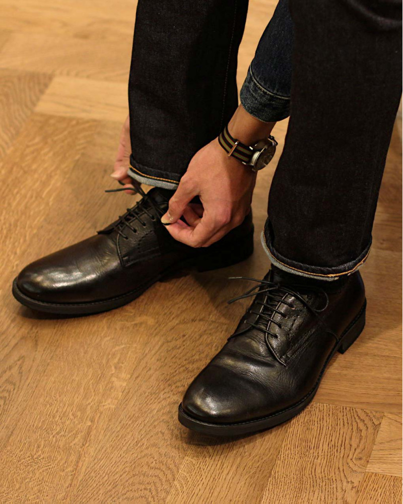 RAD by RAUDi|82105 Washed Derby Shoes・Black