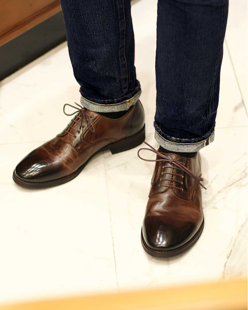 RAD by RAUDi|91101 Washed Plain Toe Derby・Dark Brown