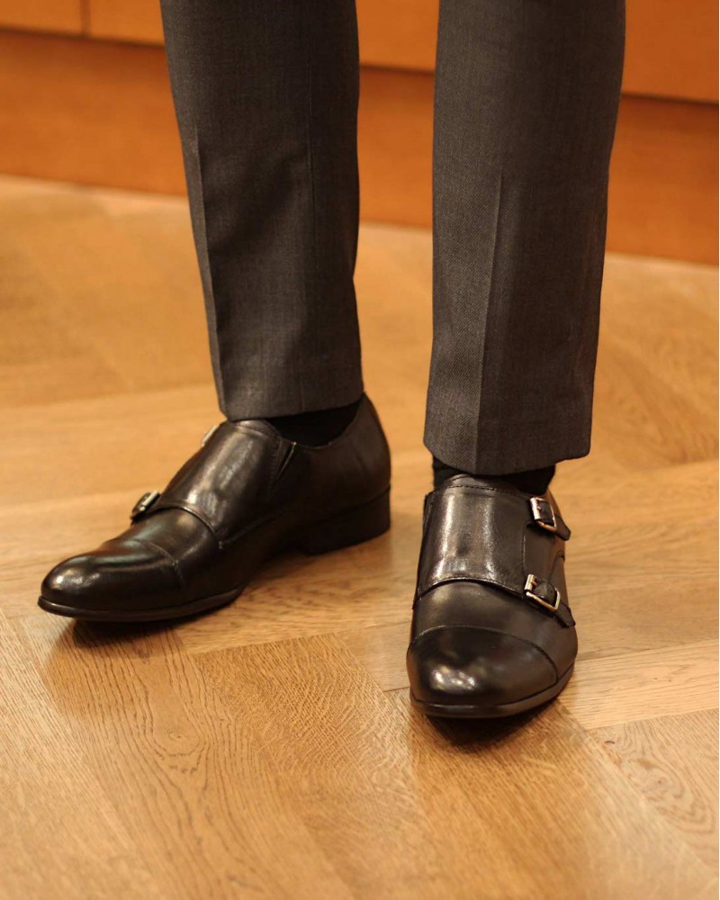 RAD by RAUDi Double Monk Strap Shoes・Black