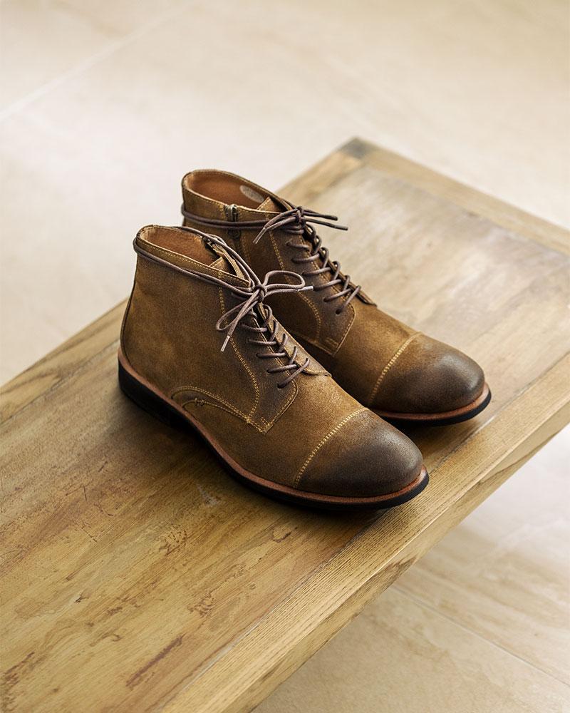 RAD by RAUDi|R01203 Side Zip Captoe Boots・Beige Suede