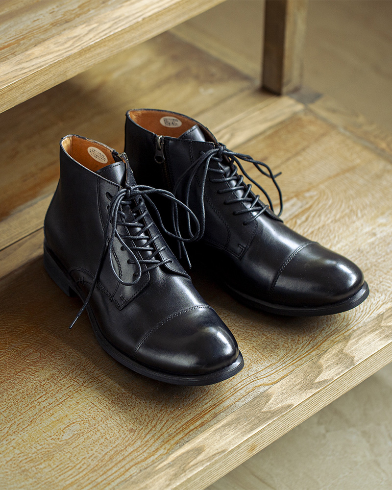 RAD by RAUDi|R01203 Side Zip Captoe Boots・Black