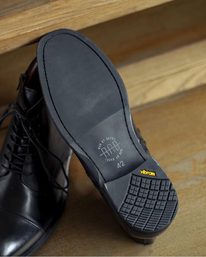 RAD by RAUDi|R01203 Side Zip Captoe Boots・Black