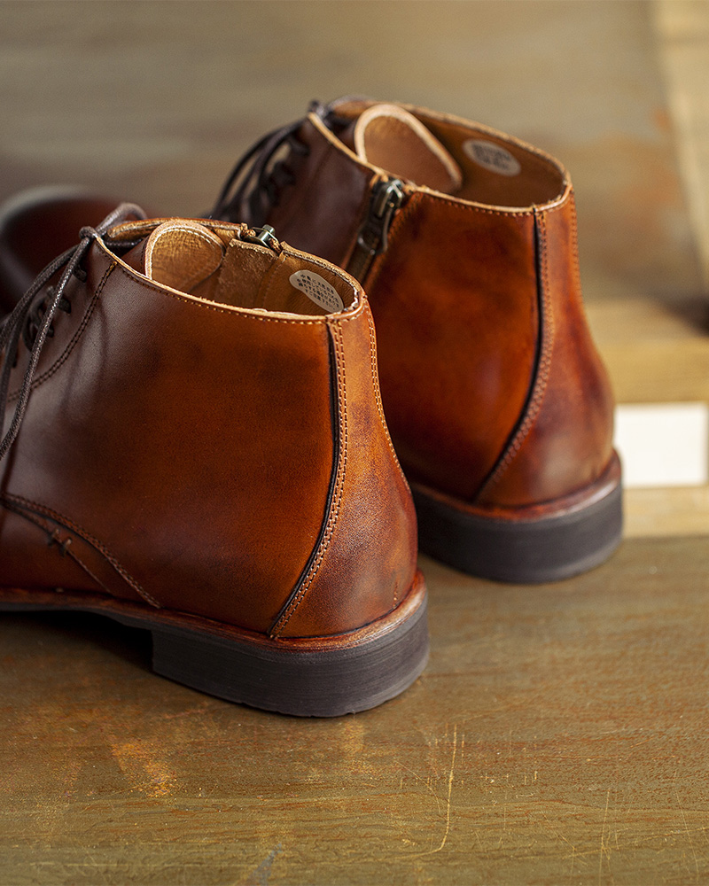 RAD by RAUDi|R01203 Side Zip Captoe Boots・Brown