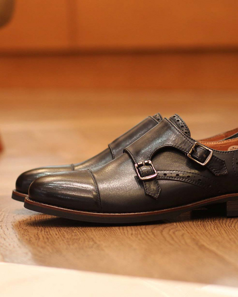 RAD by RAUDi Round Double Monk Straps・Navy