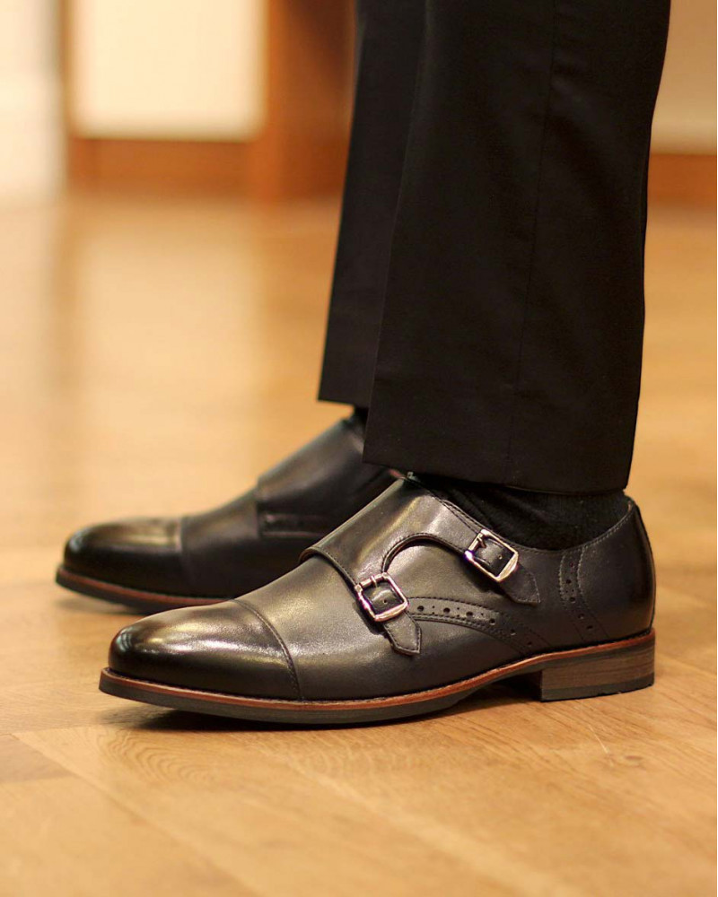 RAD by RAUDi|02 Round Double Monk Straps・Navy