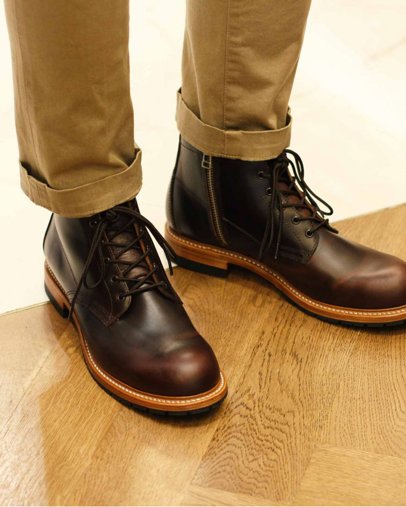 Slow Wear Lion|OB18592 Zip-up Boots・Dark Brown