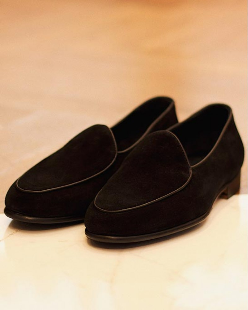 Berwick1707 for HOAX|4950 Belgian Plain Loafer・Black Suede