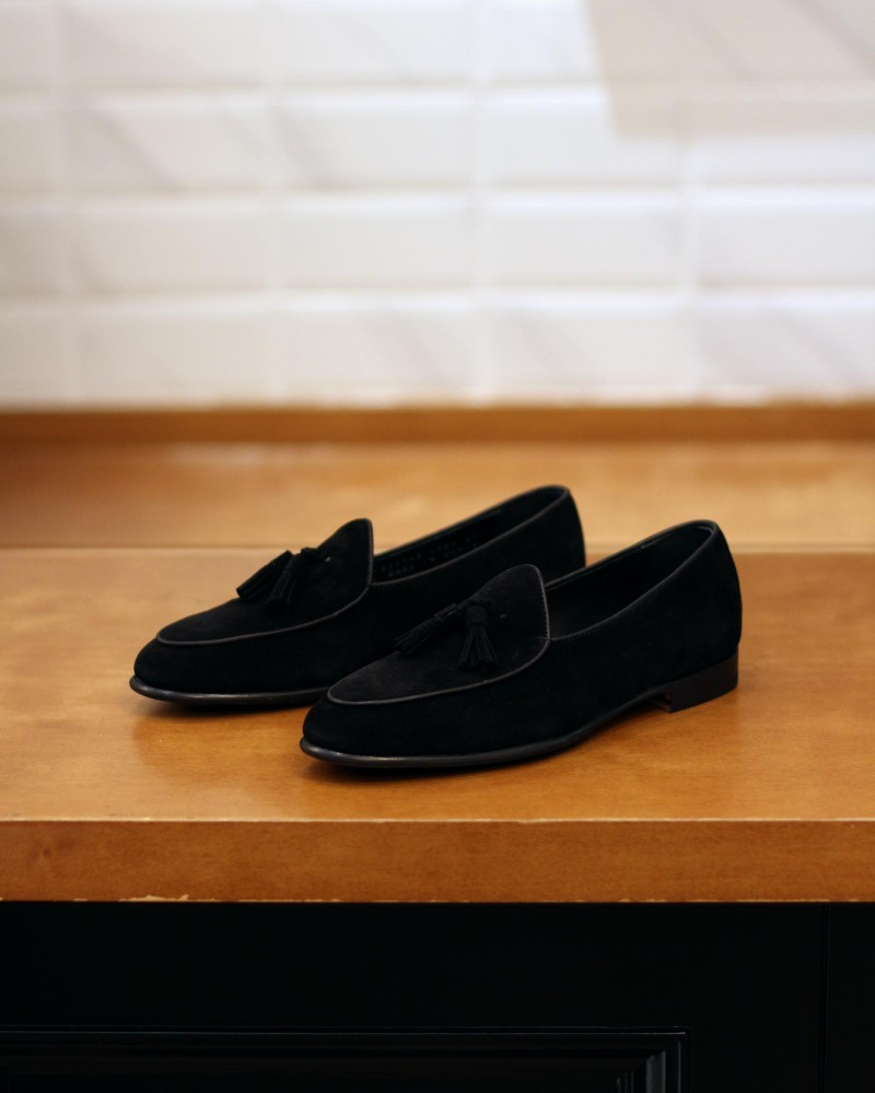Berwick1707 for HOAX|4951 Belgian Loafers・Black Suede
