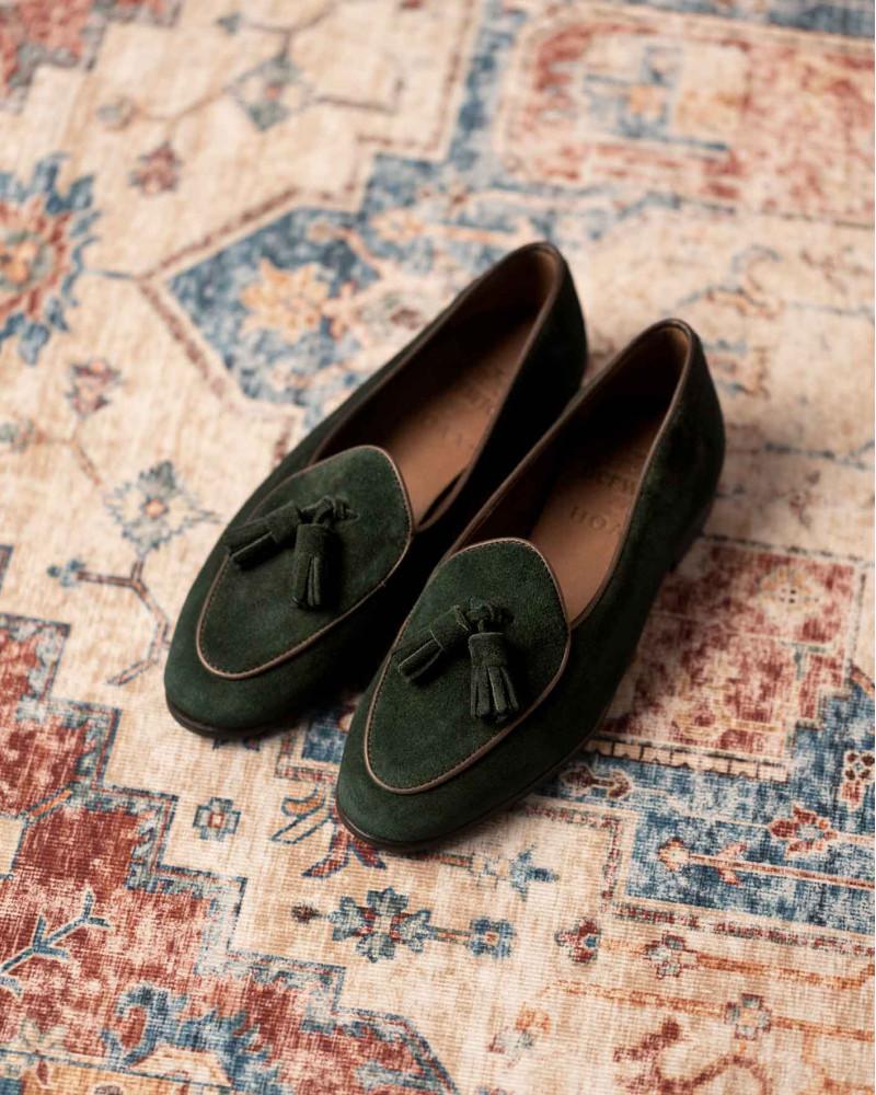 Berwick1707 for HOAX 173 Women Belgian Tassel Loafers・Green Night Suede