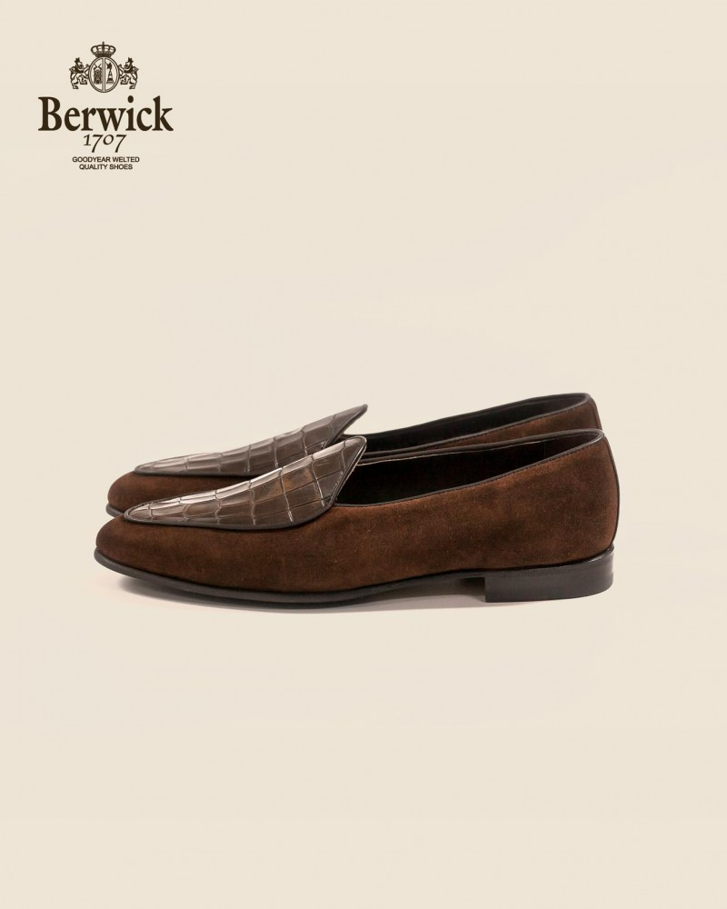 Berwick1707|4950 Belgian Plain Loafer・Brown