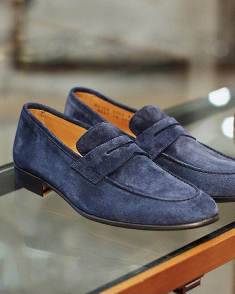 Berwick1707 for HOAX|5062 Lightweight Penny Loafers・Bluette Suede