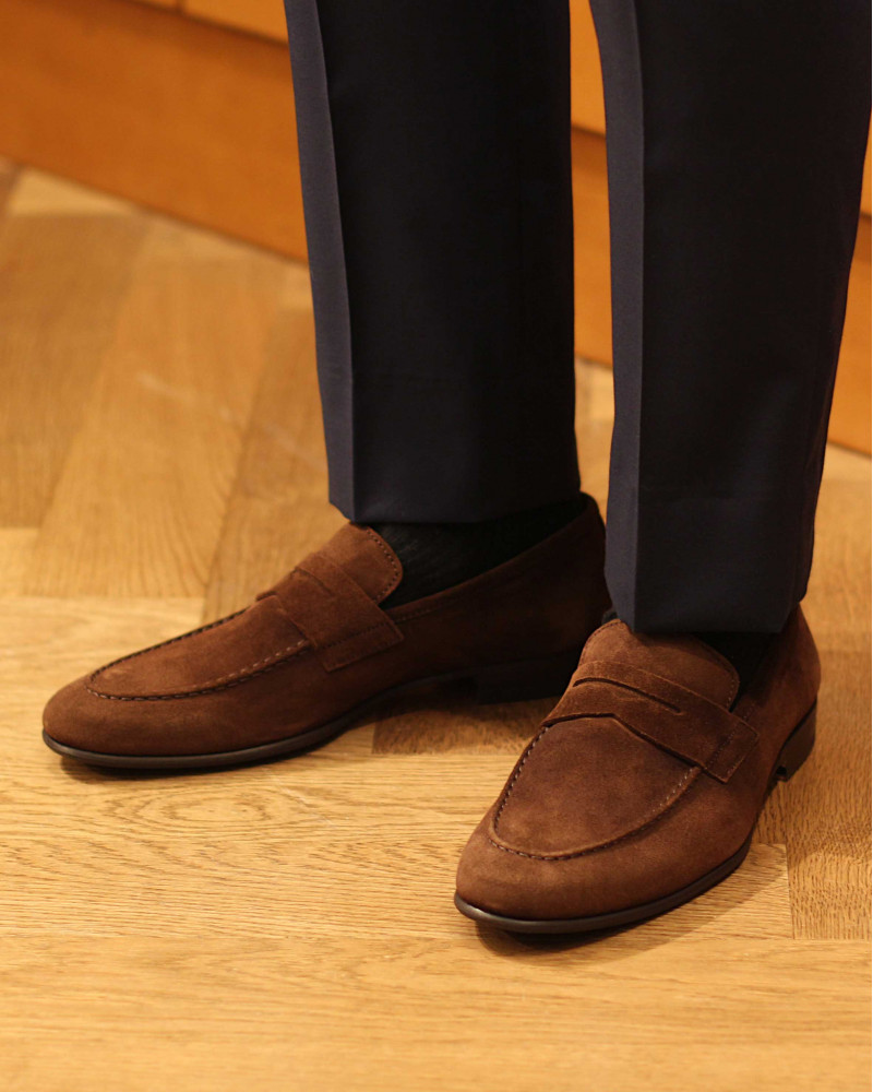 Berwick1707 for HOAX|5062 Lightweight Penny Loafers・173 Suede