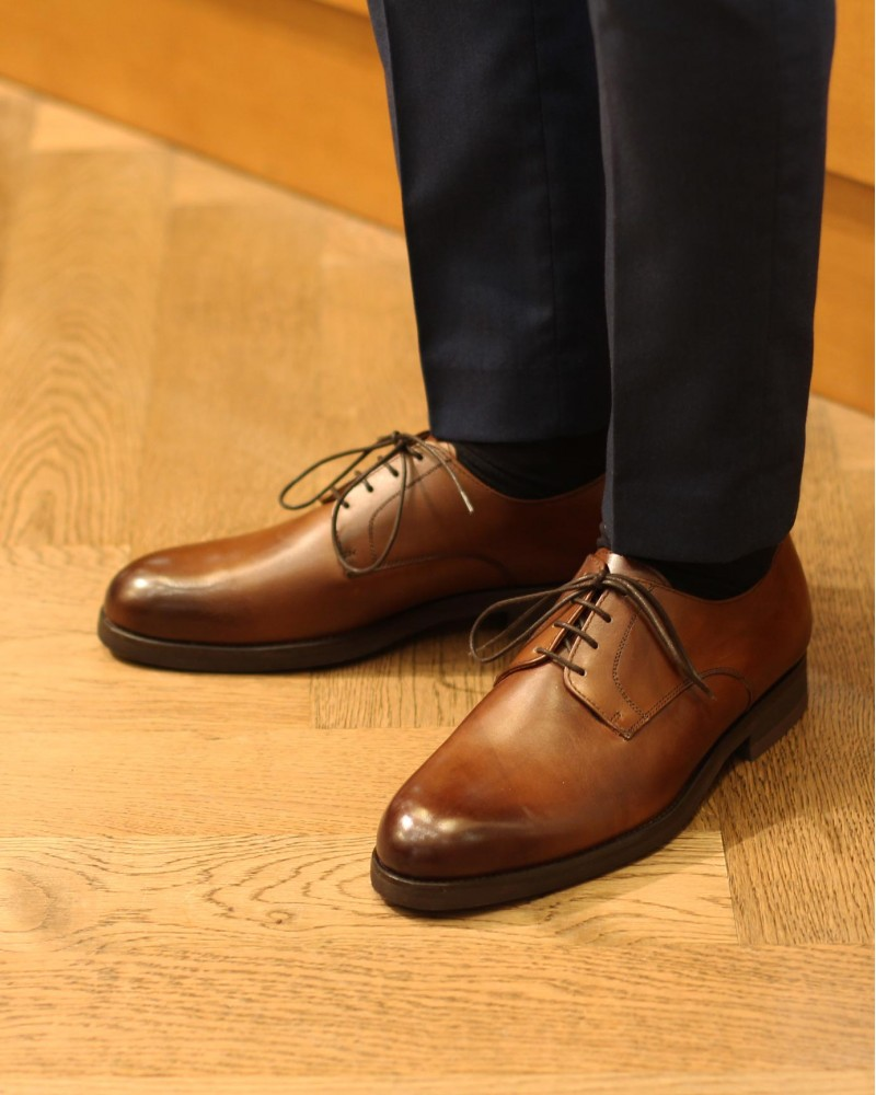Paco Milan|4854 Plain Toe Derby・Melize Brown