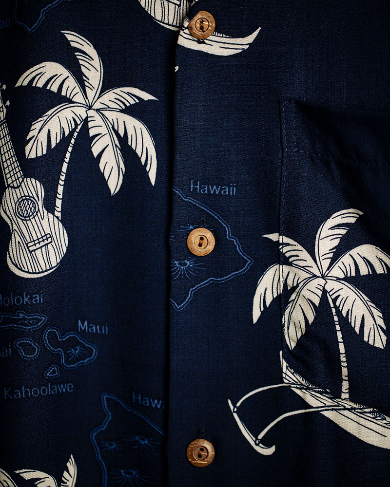 Two Palms|Islands Aloha Shirt・Navy