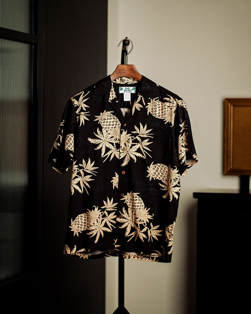 Two Palms|Pineapple Map Aloha Shirt・Black