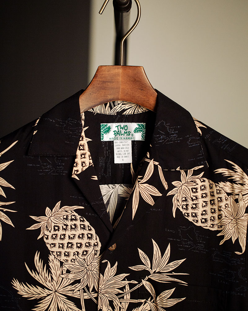 Two Palms Pineapple Map Aloha Shirt・Black