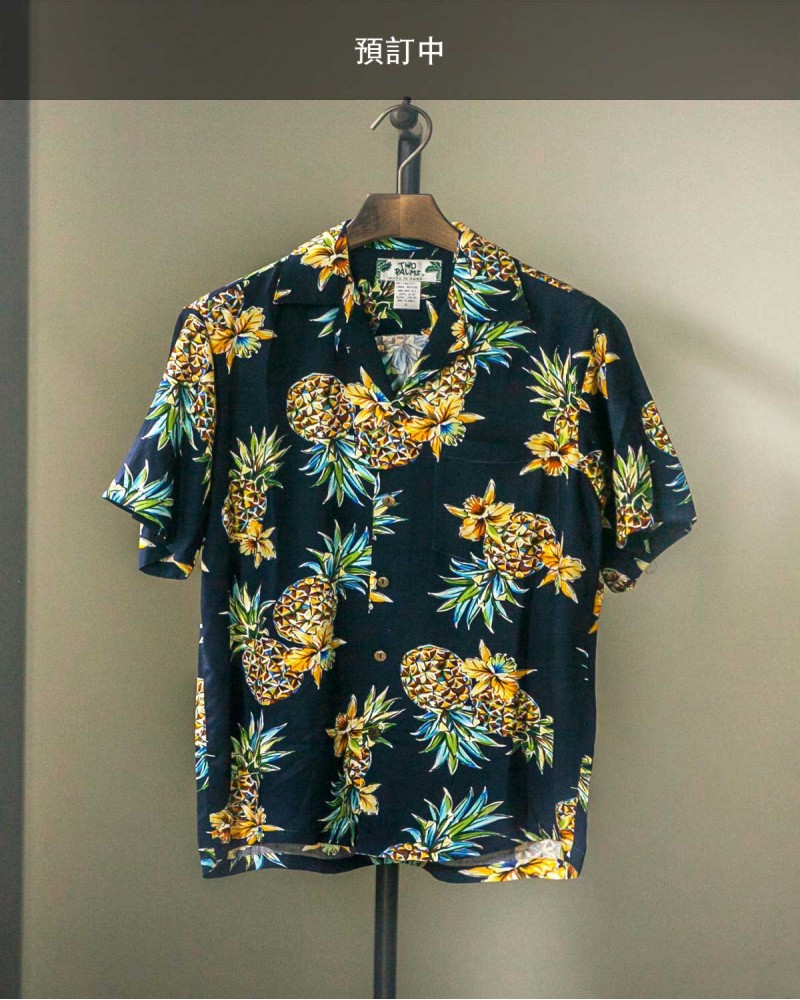 Two Palms|Golden Pineapple Aloha Shirt・Navy