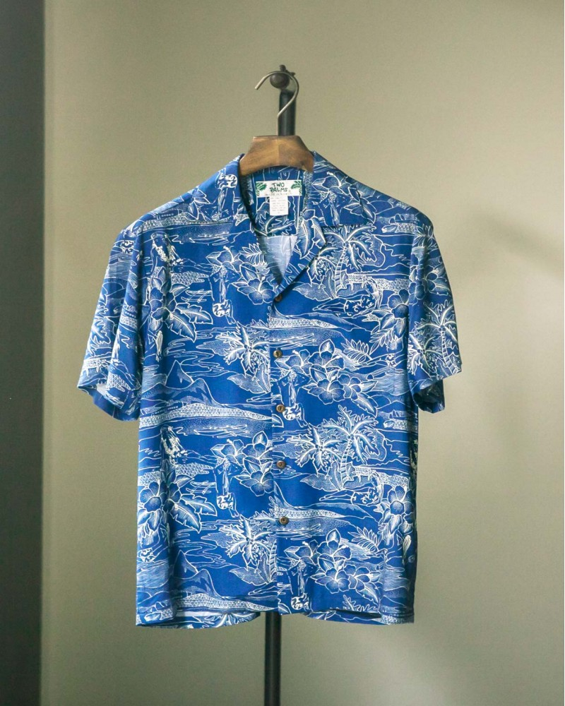 Two Palms|Etches of Hawaii Aloha Shirt・Navy