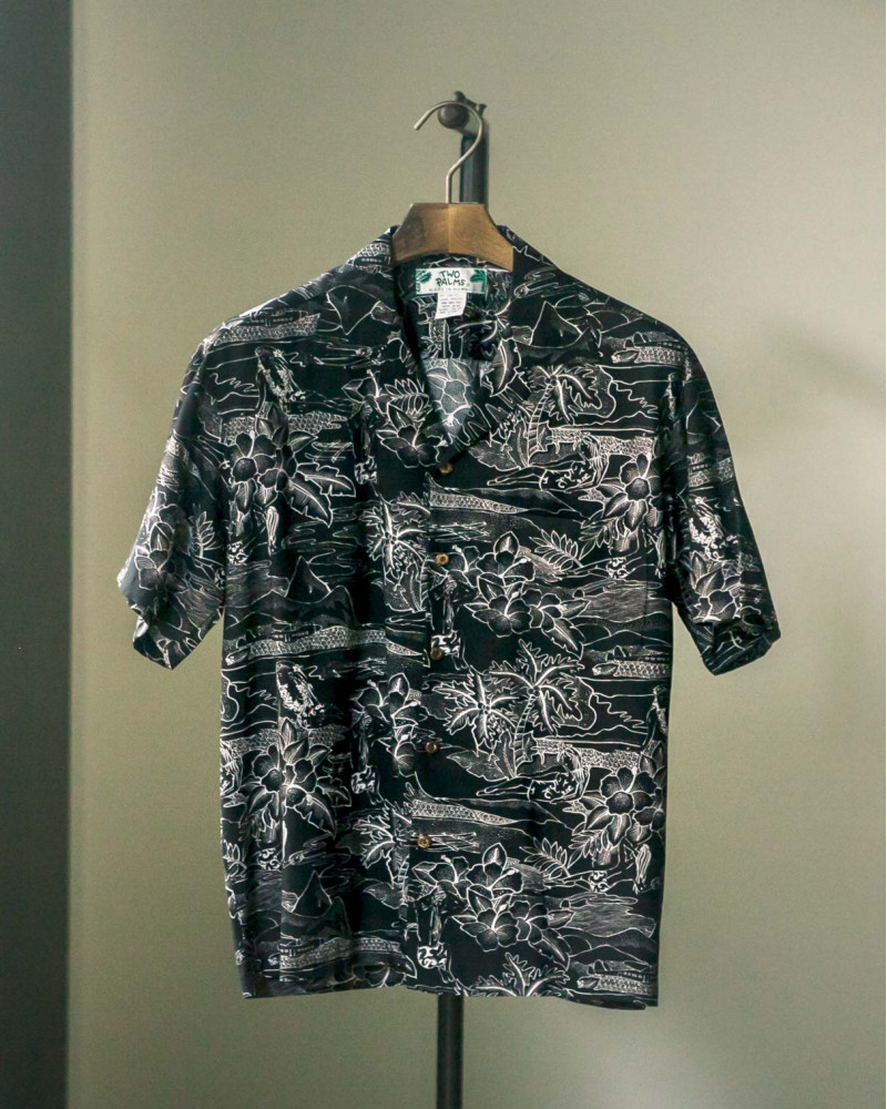 Two Palms|Etches of Hawaii Aloha Shirt・Black