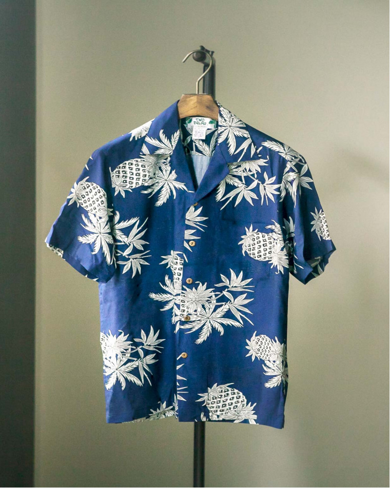 Two Palms|Pineapple Map Aloha Shirt・Navy